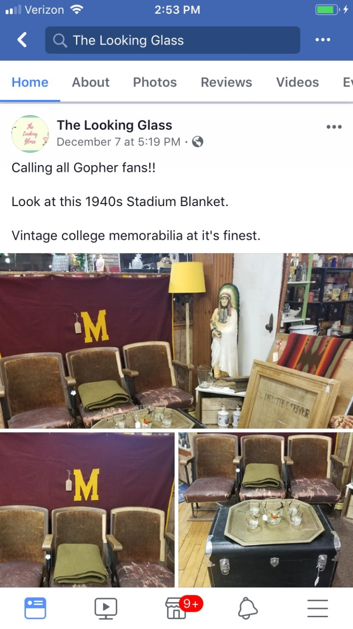 Vintage Theater Chairs Minnesota Gophers Balnket