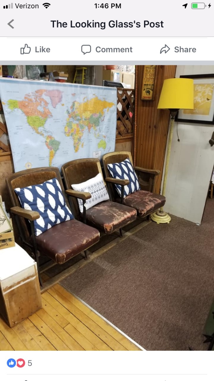 Vintage Theater Chairs World Map