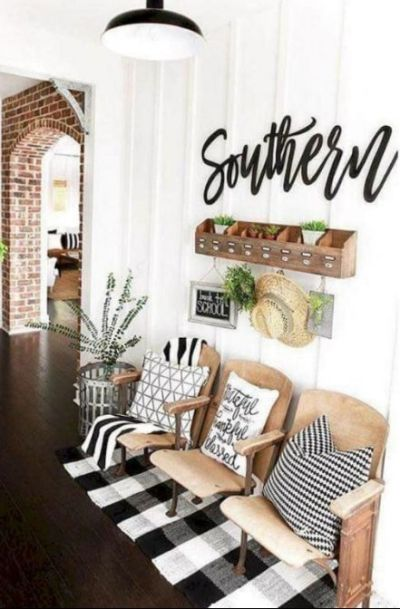 entryway decor ideas with vintage theater chairs (12)