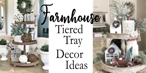farmhouse tiered tray decor ideas fi