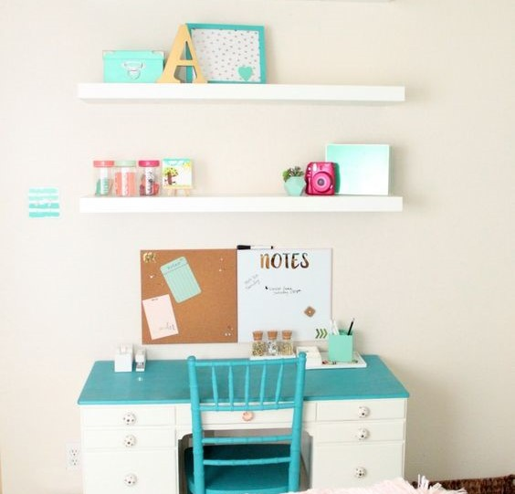 girls bedroom decor ideas desk painted furniture floating shelves teal message board