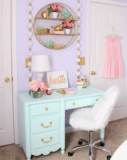 girls bedroom decor ideas desk painted furniture gold accent fur chair pom poms purple walls