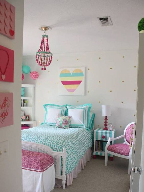 girls bedroom decor ideas painted furniture chandelier teal pinks red bold bedspread tamcam10