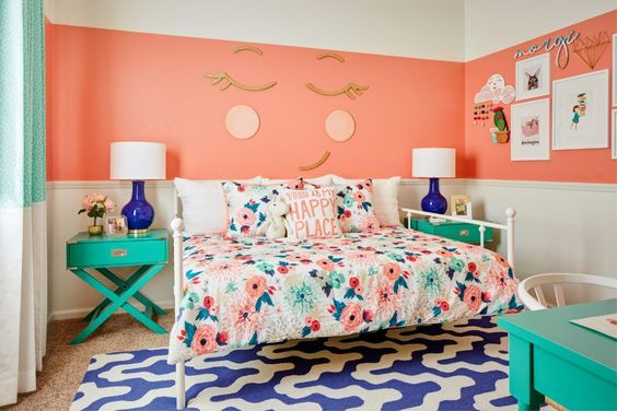 girls room decor ideas coral walls teal accents wall face stripes blue rug tamcam10
