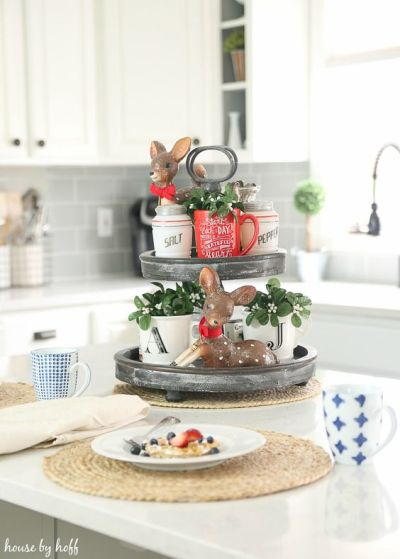 tiered tray decor ideas christmas vintage mix deer