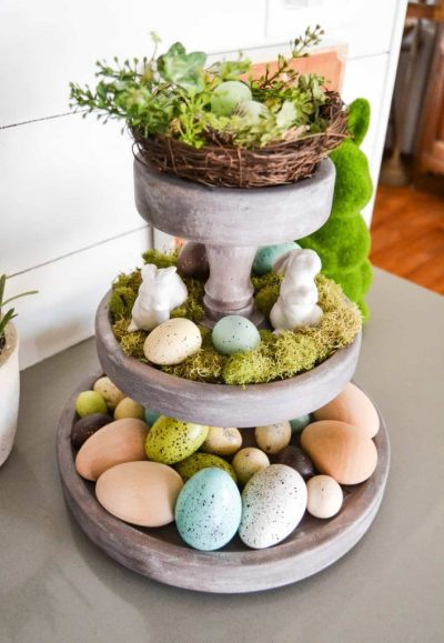 tiered tray decor ideas Easter spring styled thrift store