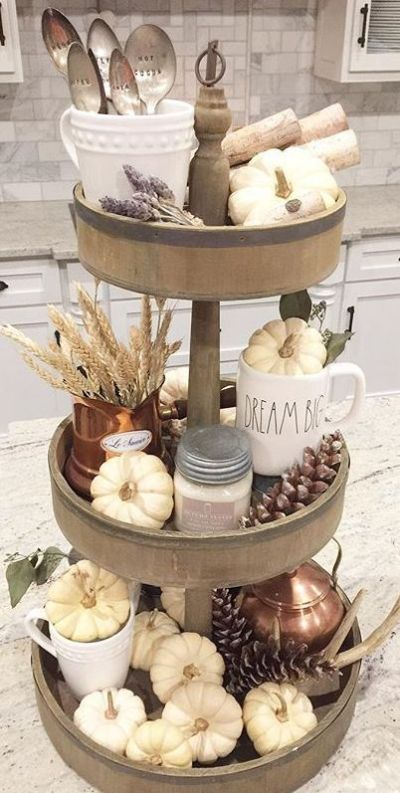 tiered tray decor ideas farmhouse fall