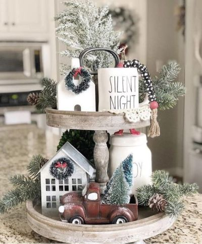 tiered tray decor ideas farmhouse little red truck rae dunn christmas