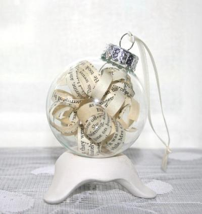 Decorate with Books and Book Pages Christmas Ornamate Curled Pages