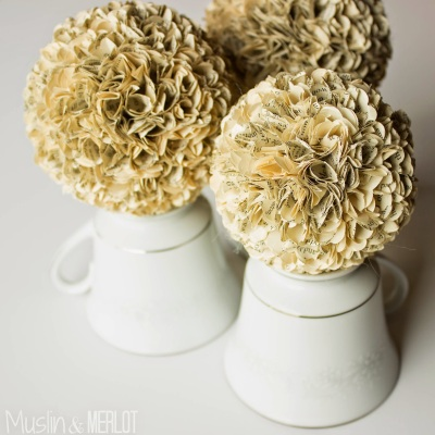 Decorate with Books and Book Pages Flower Balls