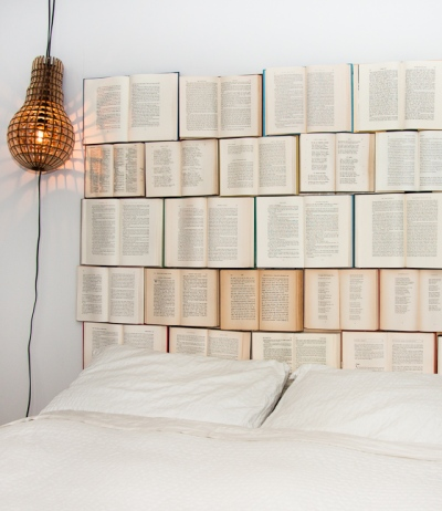 Decorate with Books and Book Pages Headboard