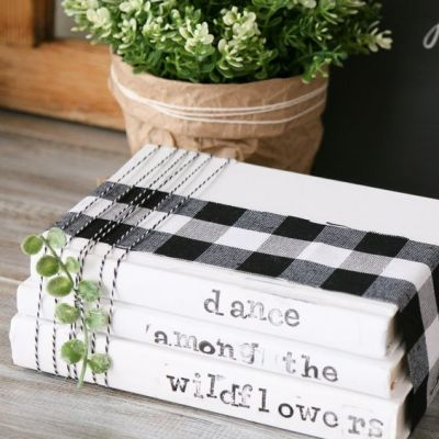 Decorate with Books and Book Pages Painted Books Stamped Letters Buffalo Plaid