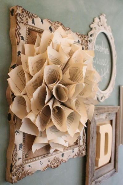 Decorate with Books and Book Pages Rolled Flower Wreath Wall Decor