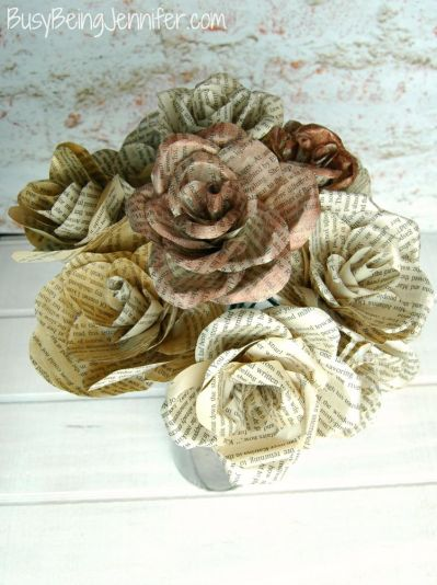 Decorate with Books and Book Pages Rolled Flowers Bouquet