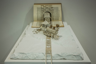 Decorate with Books and Book Pages Train Sculpture