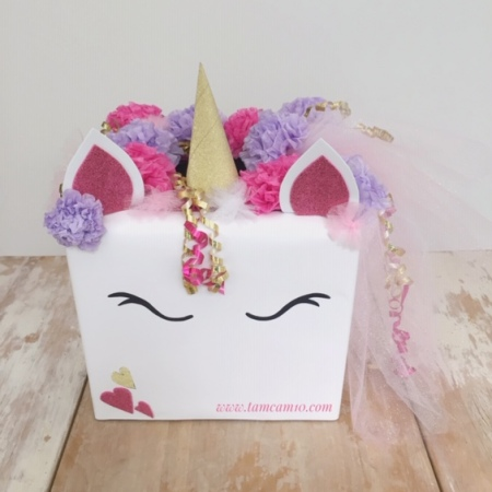 Unicorn Valentines Box, Pink Purple & Gold