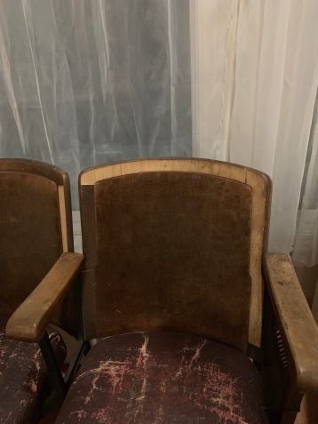 Vintage Theater Chairs Aging Wood Before tamcam10