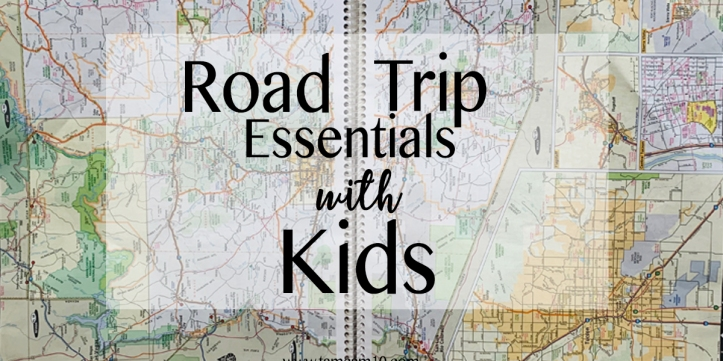 Road Map with white box and words Road Trip Essentials with Kids