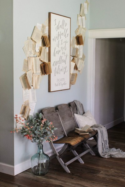 Sherwin-Williams-Sea-Salt-Decorate with Books-Vintage Theater Chairs