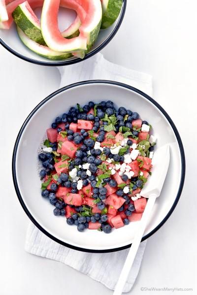 Blueberry Watermelon Mint Salad Family Reunion Dish shewearsmanyhats