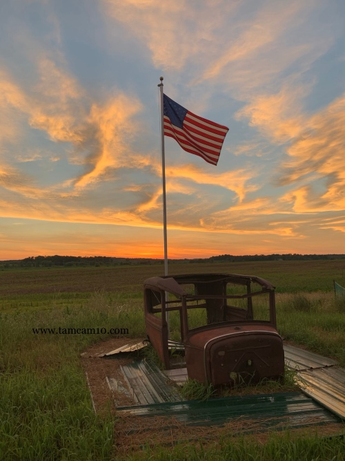 Sunset American Flag Old Car Body America
