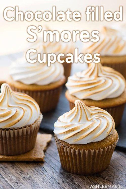Chocolate filled Smores Cupcakes Ashleemarie