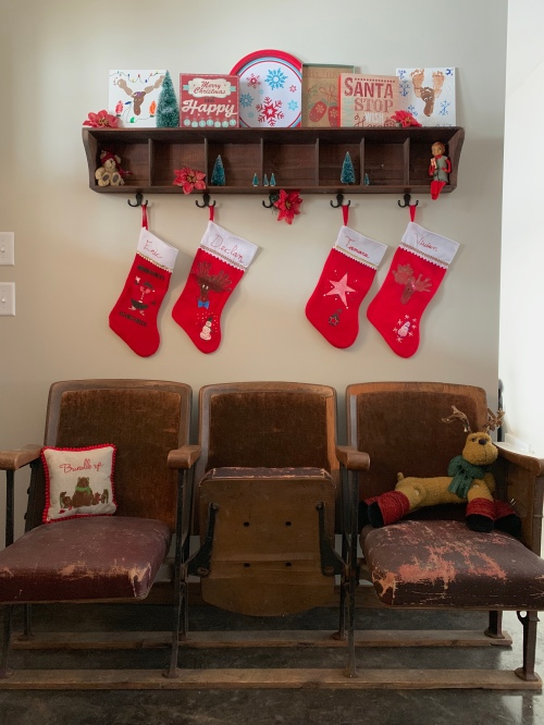 Christmas Decor, Mixing Vintage and New, Antique Theater Chairs, Bottle Brush Trees, The Stockings Were Hung, tamcam10
