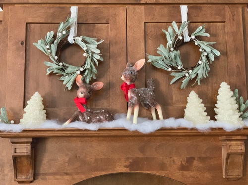 Christmas Decor, Sugared Deer, Kitchen Decor