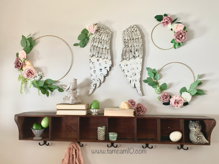Spring Decor Floral Hoop Wreath Entry Way Pink Flowers Angel Wings Easter Egg Decor