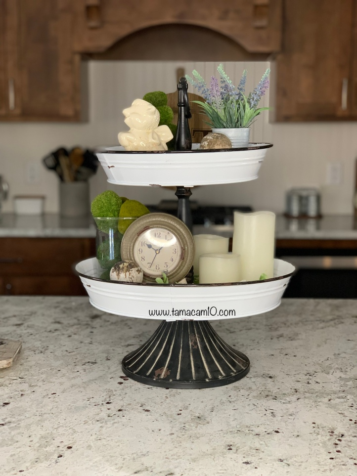 Tiered Tray Decor Spring Vintage Finds Farmhouse tamcam10 Black and White