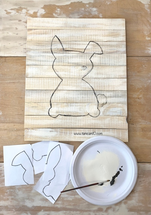 DIY Bunny Wall Craft Pallet Project Pencil Transfer tamcam10