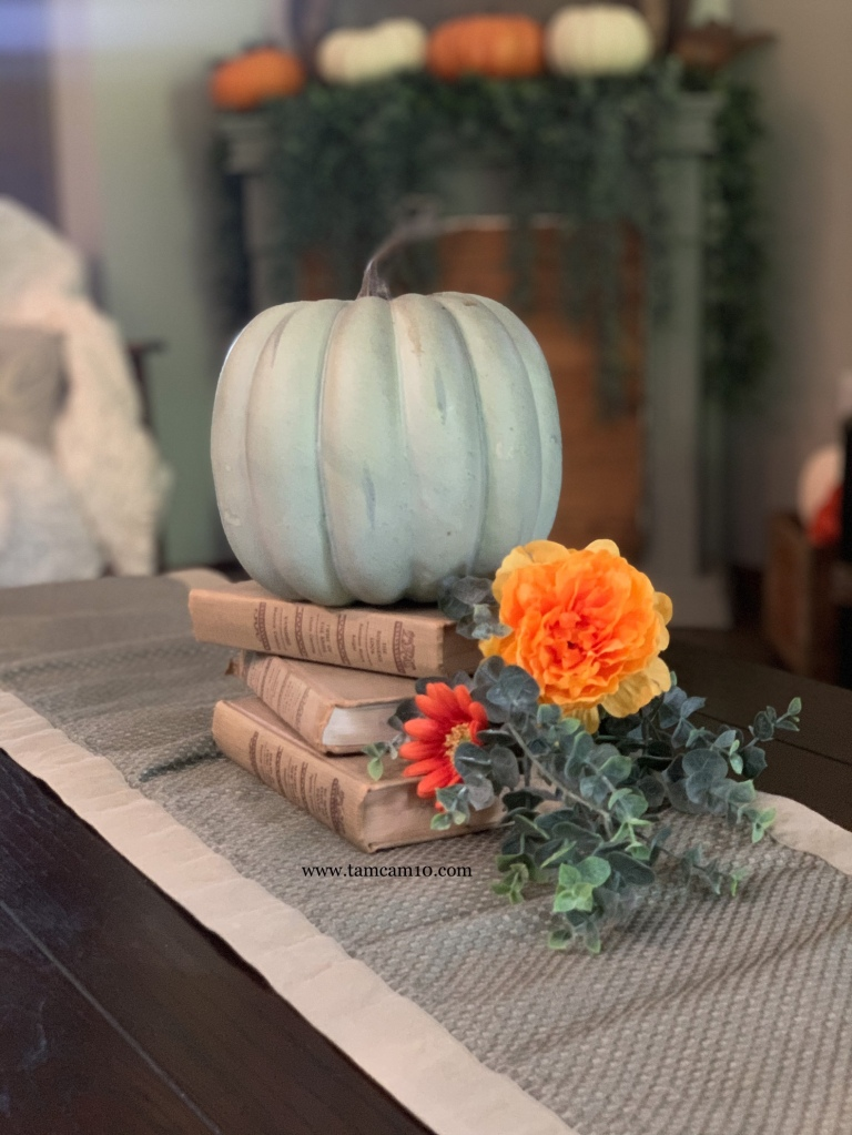 Fall Decor Ideas | Green Pumpkin | Faux Pumpkins | Book Decor | tamcam10 |