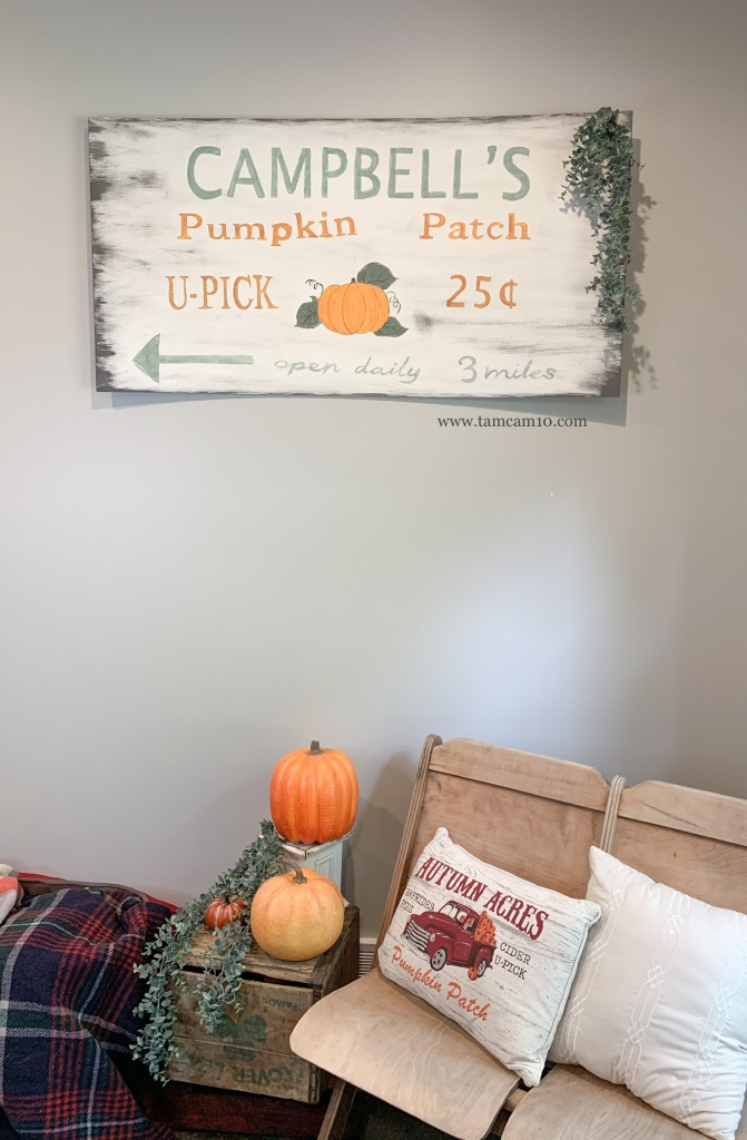 Fall Decor Ideas | Pumpkin Patch Sign | Hand Painted | Faux Pumpkins | Theater Chairs | Hanging Eucalyptus | Plaid | tamcam10 |