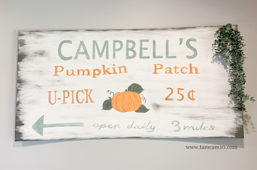 Pumpkin Patch Sign | DIY | Fall Wall Decor | Hand Painted | tamcam10 | Hanging Eucalyptus