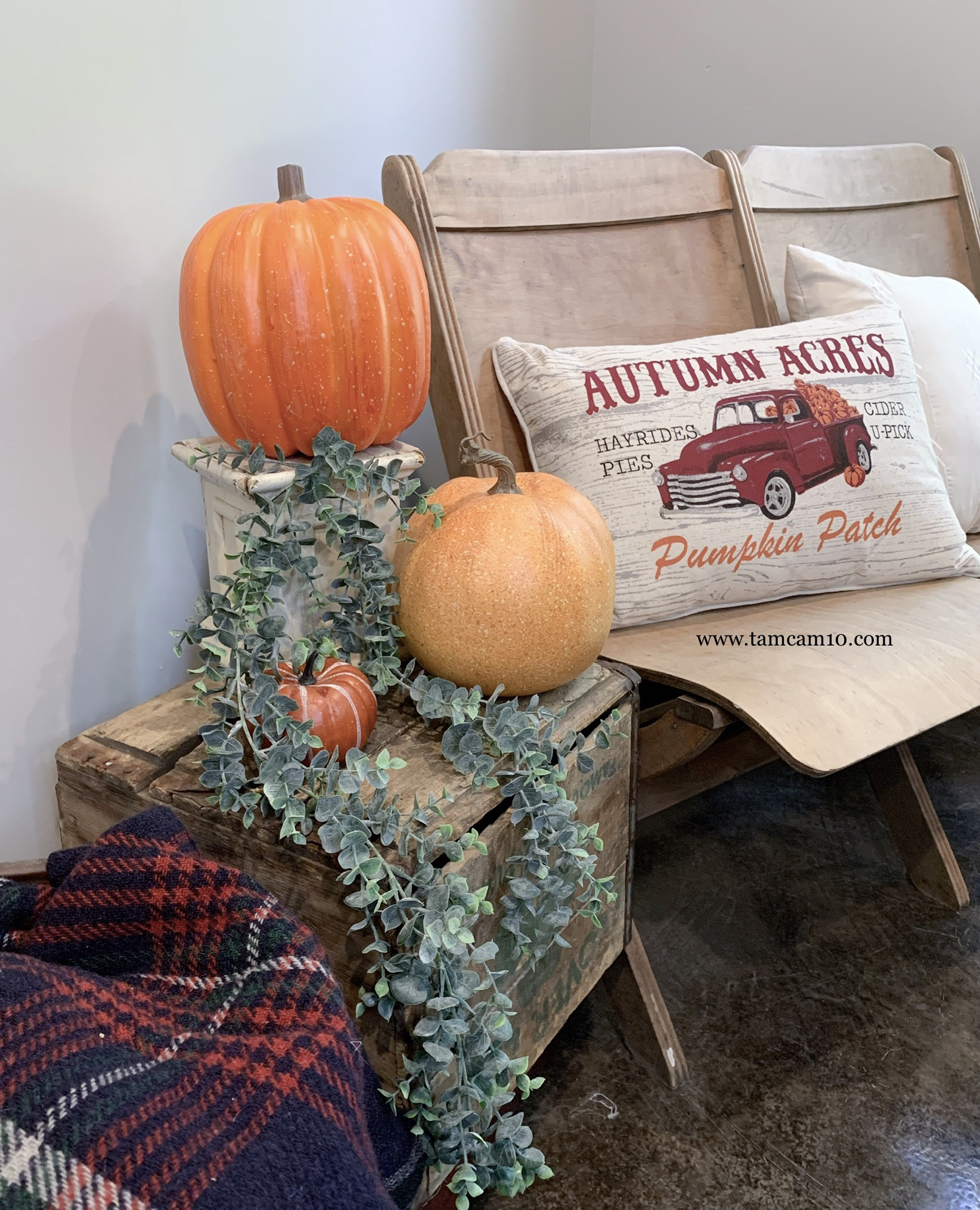 Fall Home Decor Ideas | Faux Pumpkins | Hanging Eucalyptus | Pumpkin Patch | Plaid | tamcam10 |