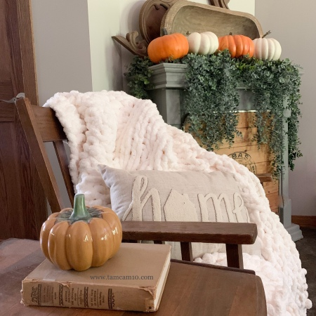 Fall Decor | Faux Fireplace | Mantel Decor | Faux Pumpkins | Chunky Blanket | Glass Pumpkin | Farmhouse Style | tamcam10 |