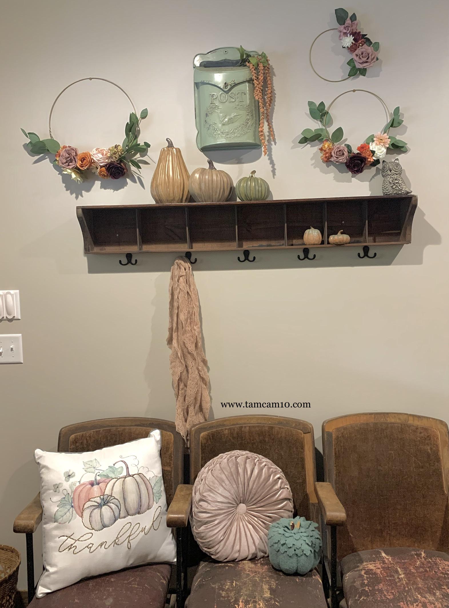 Fall Decor | Entry Way | Pretty Fall | Floral Hoops | Fall Florals | Fall Decor Ideas | Pumpkins | Thankful | tamcam10